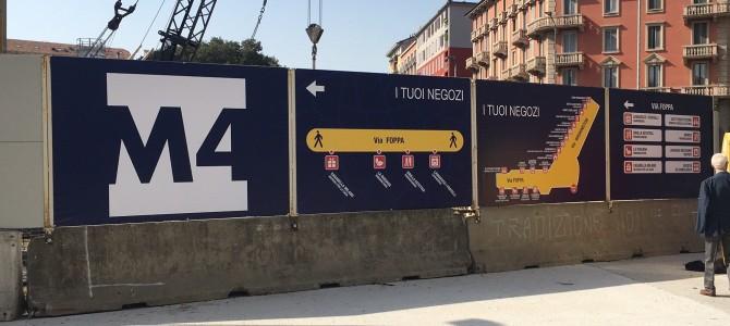M4. Iniziata la vestizione dei cantieri con le informazioni istituzionali e commerciali