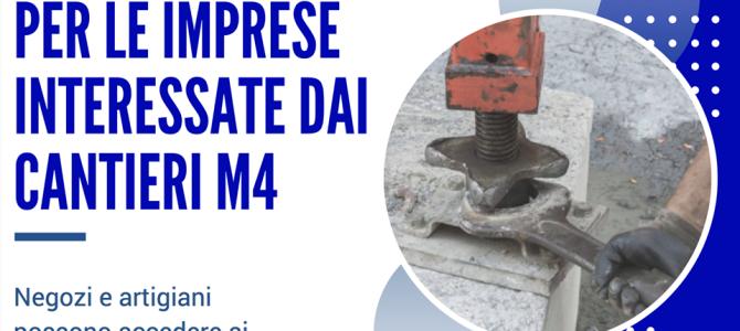 Dal Comune oltre due milioni di euro a sostegno delle imprese interessate dalle aree di cantiere M4